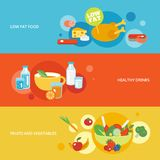 Healthy eating flat banner set. With fruits and vegetables drinks low fat food isolated vector illustration Royalty Free Stock Images