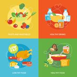 Healthy eating flat set Stock Photography