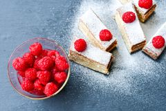 Raspberry pie. Healthy eating, food, dieting - pie  with  fresh raspberry soft cheese and  icing sugar, on   black background Stock Photo