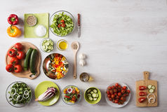 Healthy eating and food preparation at home Stock Photos