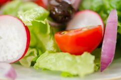 Healthy eating, fresh salad close-up stock images