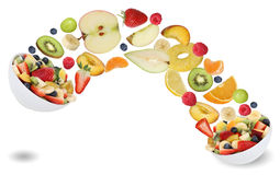 Healthy eating fruit salad with fruits like apples, oranges, ban stock photos