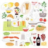Healthy eating. Fruits, food illustrations collection Stock Images