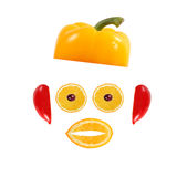 Healthy eating. Funny face made of vegetables and fruits Royalty Free Stock Images