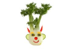 Healthy eating. Funny face made of vegetables and fruits Royalty Free Stock Photos
