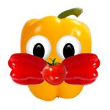 Healthy eating. Funny face made of vegetables and fruits with op Stock Photography