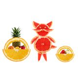 Healthy eating. Funny little cat made of the grapefruit slices. Stock Images