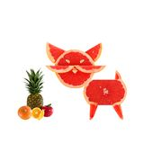 Healthy eating. Funny little cats made of the grapefruit slices Stock Photos