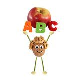 Healthy eating. Funny little man of the walnut lifting word - AB. Funny little man of the walnut lifting word - ABC with apple vector illustration