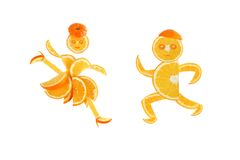 Healthy eating. Funny little pair made of the orange. Slices Stock Image