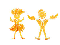 Healthy eating. Funny little pair made of the orange slices. Healthy eating. Funny little pair made of the orange slices Royalty Free Stock Images