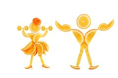 Healthy eating. Funny little pair made of the orange slices. Stock Images