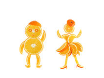Healthy eating. Funny little pair made of the orange slices. Royalty Free Stock Image