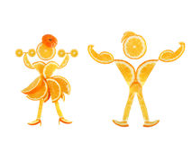 Healthy eating. Funny little pair made of the orange slices. Healthy eating. Funny little pair made of the orange slices on white Stock Image