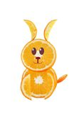Healthy eating. Funny little rabbit made of the orange slices. Stock Photo