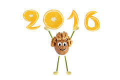 Healthy eating. Funny little  walnut raises 2016. Royalty Free Stock Photography