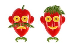 Healthy eating. Funny men's faces made of vegetables and fruits Royalty Free Stock Photos