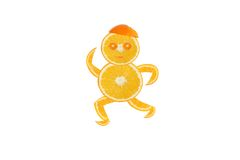 Healthy eating. Funny running little man made of the orange slic Royalty Free Stock Photo