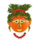 Healthy eating. Funny woman face made from fruits and vegetables Royalty Free Stock Photography
