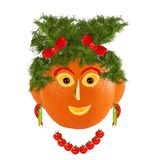 Healthy eating. Funny woman face made from fruits and vegetables Stock Photo
