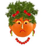 Healthy eating. Funny woman face made from fruits and vegetables Stock Photos
