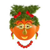 Healthy eating. Funny woman face made from fruits and vegetables Stock Photography