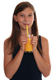 Healthy eating girl drinking orange juice Stock Photo