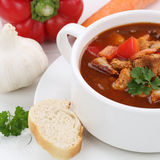 Healthy eating goulash soup with meat and paprika in cup closeup Royalty Free Stock Photos