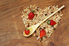 Healthy eating granola cereal with nuts and fruit Royalty Free Stock Image