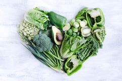 Healthy eating, green vegetables in heart shape Royalty Free Stock Photo