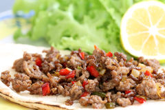 Healthy eating: grilled beef taco with vegetables, salad and lemon Royalty Free Stock Photo