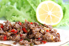 Healthy eating: grilled beef taco with vegetables, salad and lemon Stock Photo