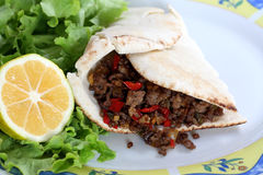Healthy eating: grilled beef taco with vegetables, salad and lemon Royalty Free Stock Image