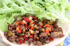 Healthy eating: grilled beef taco with vegetables and salad Stock Photos