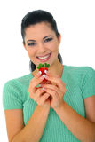 Healthy Eating Habit. Healthy eating concept. young woman holding strawberry. isolated on white Royalty Free Stock Photos