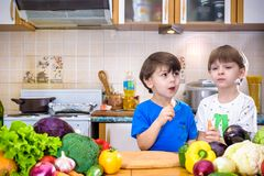 Healthy eating. Happy children prepares and eats vegetable salad Royalty Free Stock Photography