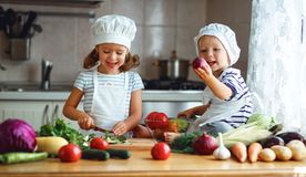 Healthy eating. Happy children prepares  vegetable salad in kitc Stock Photography