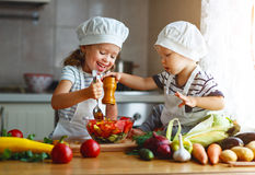 Healthy eating. Happy children prepares  vegetable salad in kitc. Healthy eating. Happy children prepares and eats vegetable salad in kitchen Stock Image