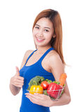 Healthy eating, happy young woman with vegetables Royalty Free Stock Photos