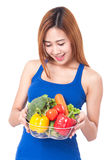 Healthy eating, happy young woman with vegetables Royalty Free Stock Images