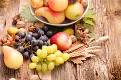 Healthy eating, healthy food - autumn organic fruit on rustic wooden table Stock Photos