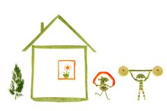 Healthy eating. House and funny little people made ??of vegetabl Stock Image