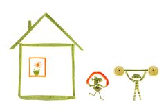 Healthy eating. House and funny little people made of vegetabl Stock Photo