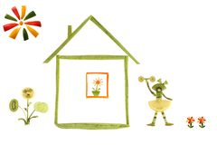 Healthy eating. House and funny little people made ??of vegetabl Stock Photography
