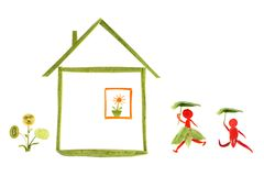 Healthy eating. House and funny little people made of vegetabl Royalty Free Stock Photography