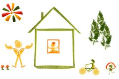 Healthy eating. House and funny little people made ??of vegetabl Royalty Free Stock Photography