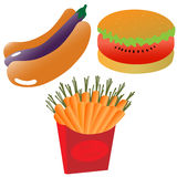 Healthy eating icons. Unusual hot dog with eggplant, hamburger with water melon instead of steak Royalty Free Stock Images