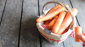 Healthy eating idea, tag and Carrot in the basket, copy space stock video