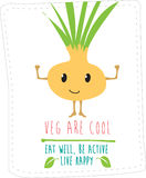 Healthy eating illustration based on simple fold style character Royalty Free Stock Photo