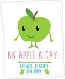 Healthy eating illustration based on simple fold style character Stock Images